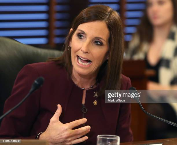 Sen Martha McSally speaks during a Senate Armed Service Committee on prevention and response to sexual assaults in the military on March 6 2019 in...