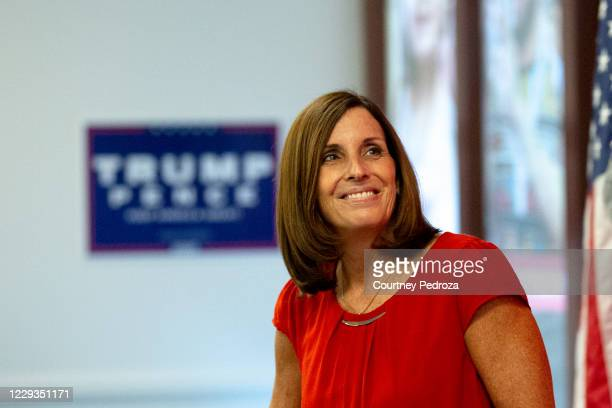 Sen. Martha McSally speaks to supporters at a phone bank with Sen. Rick Scott on October 29, 2020 in Phoenix, Arizona. McSally is running against...