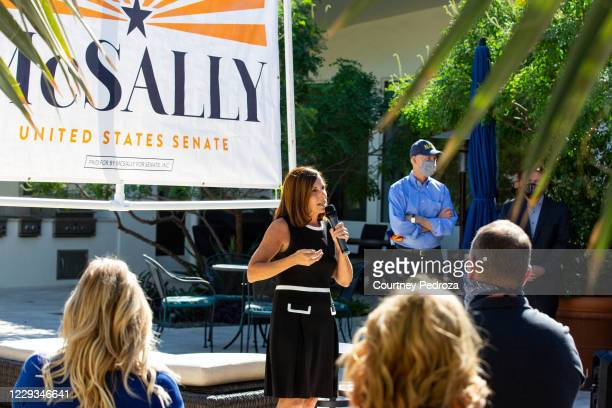 Sen. Martha McSally speaks to supporters on October 29, 2020 in Scottsdale, Arizona. McSally is running against Democratic Senate candidate Mark...