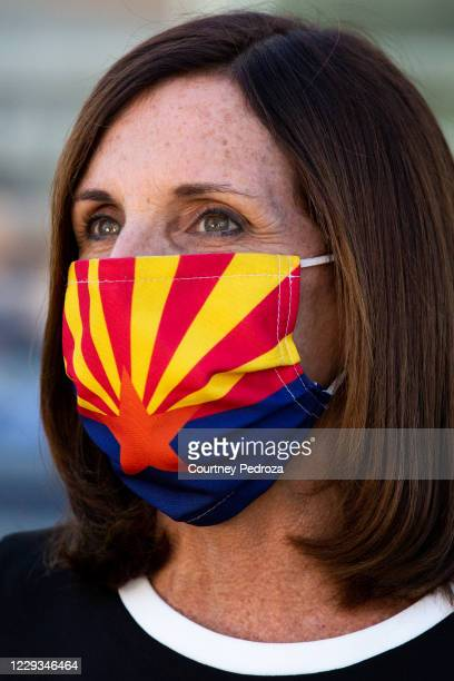 Sen. Martha McSally speaks to the press after a campaign event on October 29, 2020 in Scottsdale, Arizona. McSally is running against Democratic...