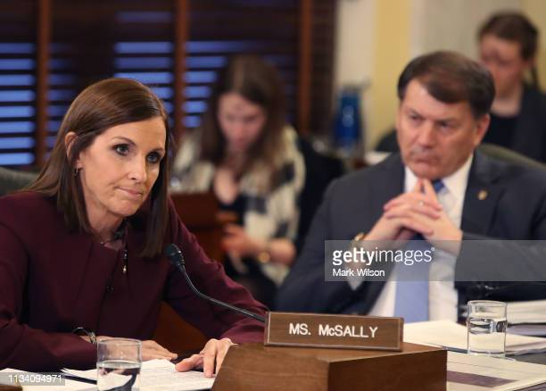 Sen Martha McSally speaks while Sen Mike Rounds listens during a Senate Armed Service Committee on prevention and response to sexual assaults in the...