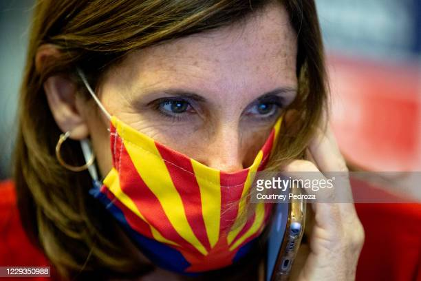 Sen. Martha McSally speaks with a supporter at a phone bank on October 29, 2020 in Phoenix, Arizona. McSally is running against Democratic Senate...