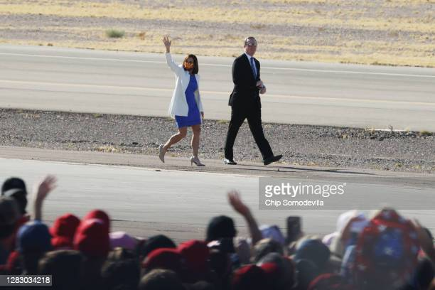Sen. Martha McSally waves as she arrives for a campaign rally with U.S. President Donald Trump at Phoenix Goodyear Airport October 28, 2020 in...