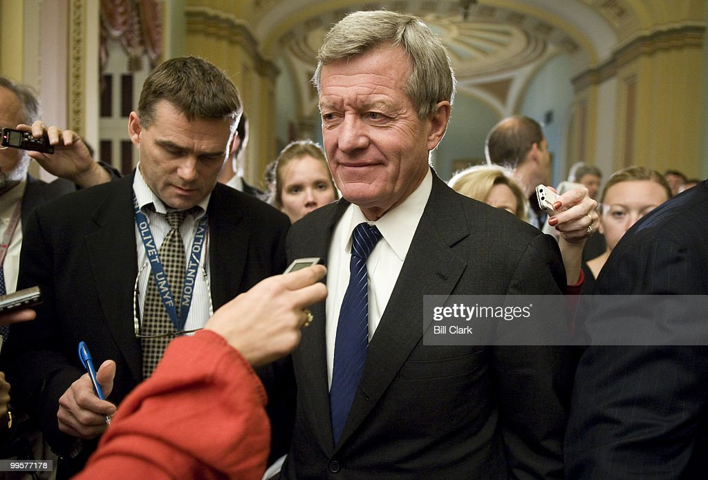 Sen. Max Baucus, D-Mont., speaks to reporters in the Ohio Clock Corridor following the Senate Democrats' lunch meeting on Oct. 15, 2009.