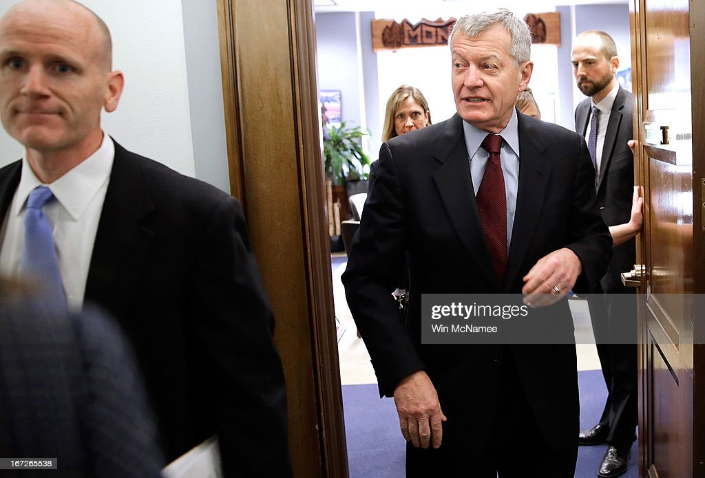 Sen. Max Baucus (D-MT) leaves a hearing April 23, 2013 on Capitol Hill in Washington, DC. It was announced earlier that Baucus, after 36 years in the Senate, will not seek reelection in 2014.