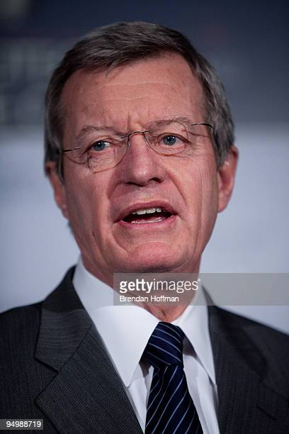 Sen Max Baucus speaks at a news conference on health insurance reform legislation on December 21 2009 in Washington DC The American Medical...