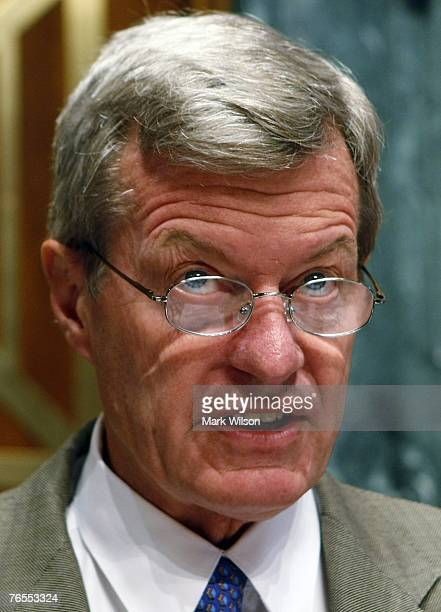 Sen Max Baucus speaks during a Senate Finance Committee hearing on Capitol Hill September 6 2007 in Washington DC The hearings focus is on issues...