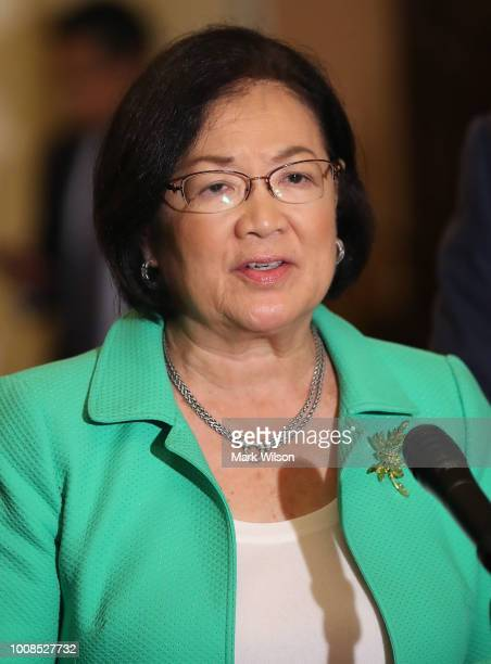 Sen Mazie Hirono after attending the Senate Democrats policy luncheon on July 31 2018 in Washington DC Senators are reacting to President Donald...