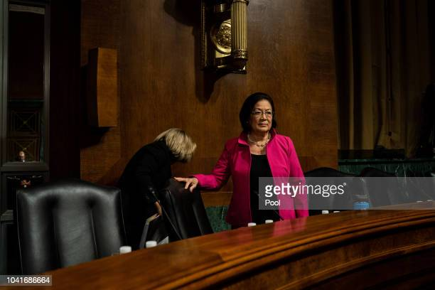 S Sen Mazie Hirono arrives at a Judiciary Committee hearing for testimony from Christine Blasey Ford and Supreme Court nominee Brett Kavanaugh at the...