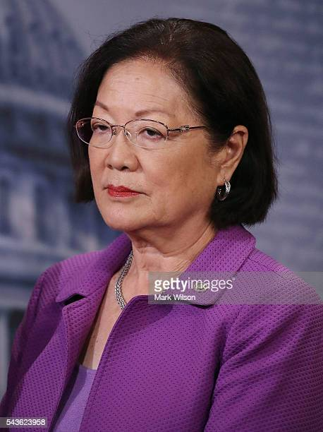 Sen Mazie Hirono attends a news conference to discuss the Senate's recent failed vote for funding to fight the Zika virus on Capitol Hill June 29...