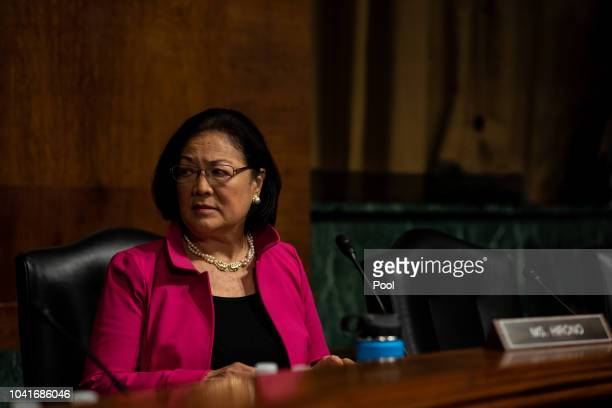 S Sen Mazie Hirono awaits the start of a Judiciary Committee hearing for testimony from Christine Blasey Ford and Supreme Court nominee Brett...