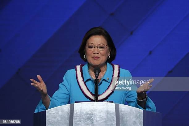 Sen Mazie Hirono delivers remarks on the fourth day of the Democratic National Convention at the Wells Fargo Center July 28 2016 in Philadelphia...