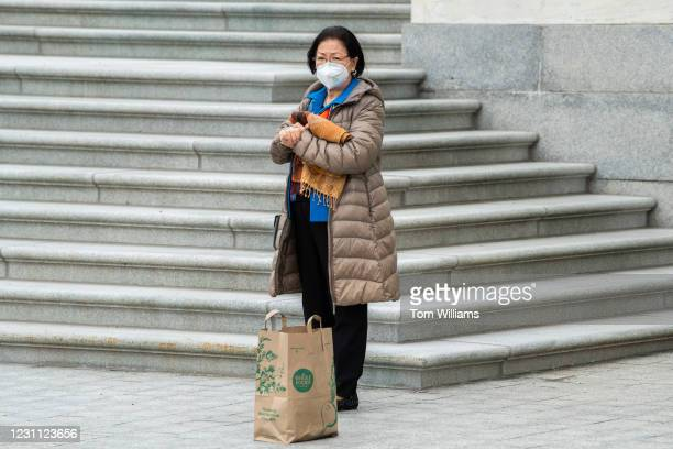 Sen. Mazie Hirono, D-Hawaii, arrives to the Capitol on the fourth day of former President Donald Trumps impeachment trial on Friday, February 12,...