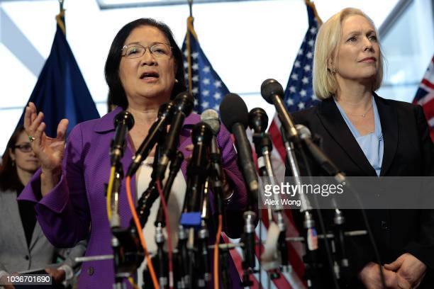 S Sen Mazie Hirono speaks as Sen Kirsten Gillibrand listens after they received a letter signed by HoltonArms alumnae in support of Christine Blasey...