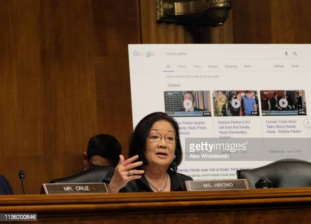 Sen Mazie Hirono speaks at a Senate Judiciary Committee hearing on April 10 2019 in Washington DC The Republicancontrolled Senate Judiciary Committee...