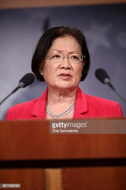 Sen Mazie Hirono speaks during a news conference at the US Captiol January 12 2017 in Washington DC The freshman Democratic senator said she would...