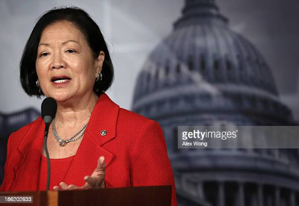 S Sen Mazie Hirono speaks during a news conference on debt ceiling increases October 29 2013 on Capitol Hill in Washington DC The senators will...