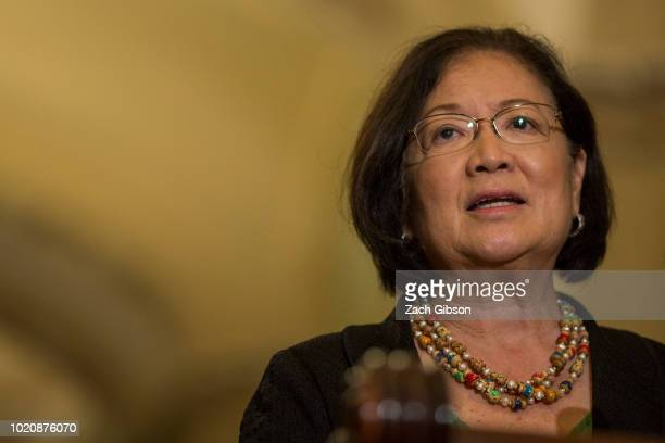 Sen Mazie Hirono speaks during a weekly news conference on Capitol Hill on August 21 2018 in Washington DC