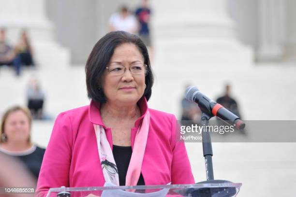 Sen Mazie Hirono speaks to protestors gathered at the steps of the US Supreme Court as the Nation waits for the expected confirmation Judge Brett...