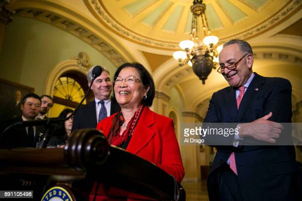 S Sen Mazie Hirono speaks to reporters about President Donald Trump's recent tweets during a news conference on Capitol Hill December 12 2017 in...