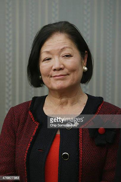 S Sen Mazie Hirono urges fellow members of Congress to support rising the minimum wage to $1010 an hour during a news conference at the US Capitol...
