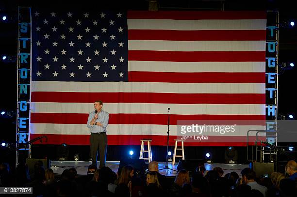 Sen Michael Bennet addresses the crowd at the Get Out The Vote Concert rally with Tim Kaine and Dave Matthews October 10 2016 at the Colorado at the...