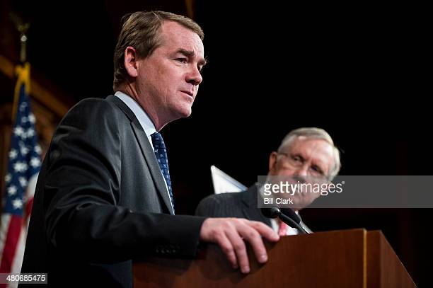 Sen Michael Bennet DColo speaks during the Senate Democrats' news conference to unveil A Fair Shot for Everyone agenda on Wednesday March 26 2014