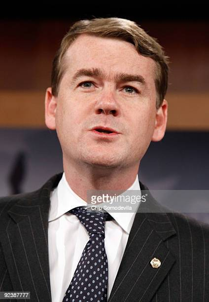Sen Michael Bennet speaks during a news conference to announce the introduction of The Post9/11 Troops to Teachers Enhancement Act at the US Capitol...
