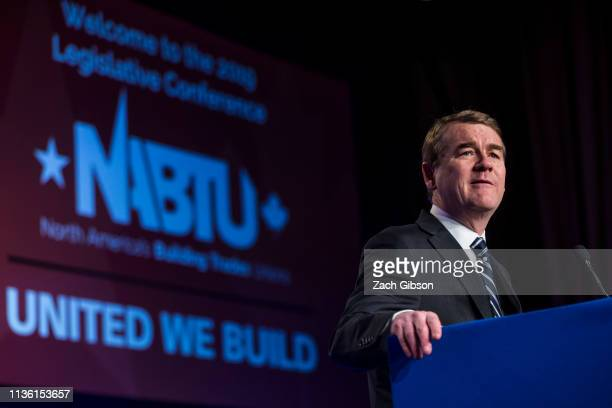 Sen Michael Bennet speaks during the North American Building Trades Unions Conference at the Washington Hilton April 10 2019 in Washington DC Many...