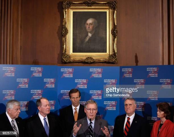 Sen. Michael Enzi , Sen. Lamar Alexander , Sen. John Thune , Senate Minority Leader Mitch McConnell , Sen. Jon Kyl and Sen. Lisa Murkowski hold a...