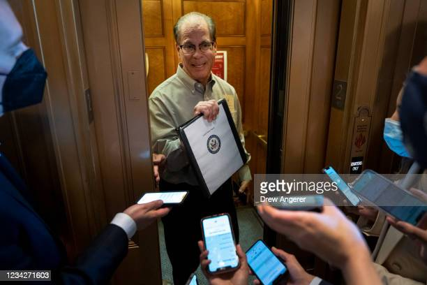 Sen. Mike Braun tells reporters he needs to read more about the infrastructure bill before making a decision after a lunch with Senate Republicans at...