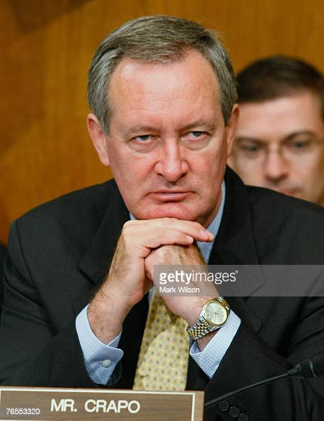 Sen Mike Crapo listens to testimony during a Senate Finance Committee hearing on Capitol Hill September 6 2007 in Washington DC The hearings focus is...