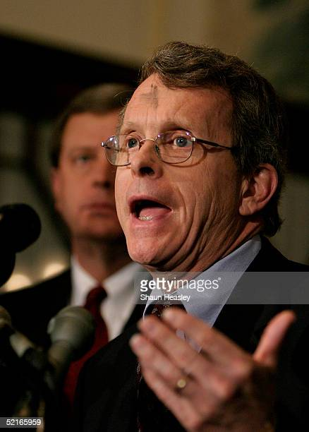 Sen Mike DeWine gestures during a news conference at the Russell Senate Office Building on Capitol Hill February 9 2005 in Washington DC DeWine and...