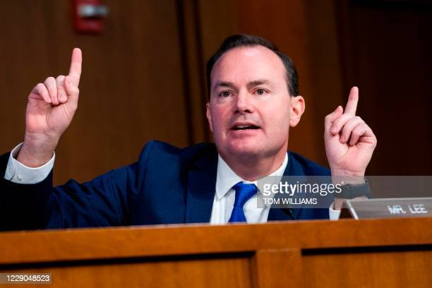 Sen. Mike Lee, R-UT speaks during a hearing before the Senate Judiciary Committee on Capitol Hill in Washington, DC, on October 13, 2020. - President...