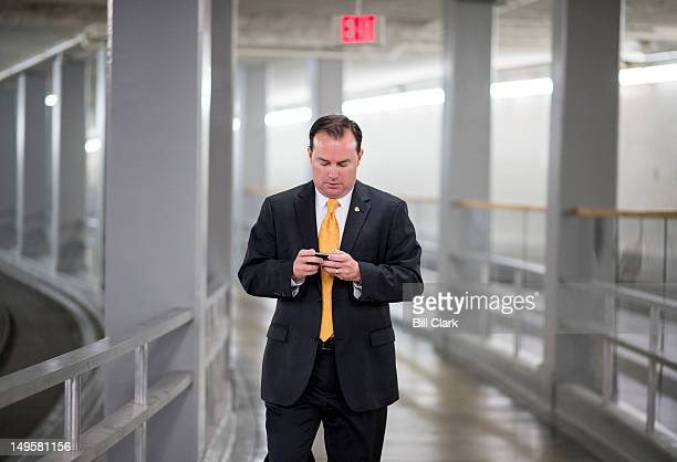 Sen Mike Lee RUtah arrives in the Capitol for the Senate Republicans' policy lunch on Tuesday July 31 2012