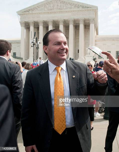 Sen Mike Lee RUtah leaves the Supreme Court on day 3 of oral arguments on the Affordable Care Act on Wednesday March 28 2012