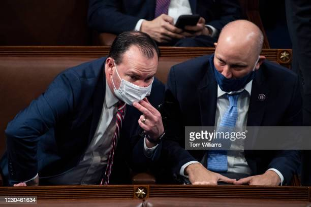 Sen. Mike Lee, R-Utah., left, and Rep. Chip Roy, R-Texas, attend a joint session of Congress to certify the Electoral College votes of the 2020...