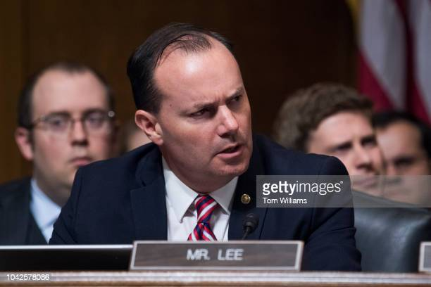 Sen Mike Lee RUtah listens to testimony by Dr Christine Blasey Ford during the Senate Judiciary Committee hearing on the nomination of Brett M...