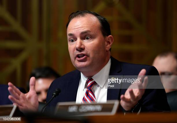 Sen Mike Lee RUtah questions Supreme Court nominee Brett Kavanaugh as he testifies before the Senate Judiciary Committee on Capitol Hill on September...