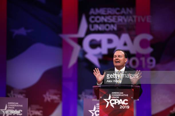 S Sen Mike Lee speaks during CPAC 2019 February 28 2019 in National Harbor Maryland The American Conservative Union hosts the annual Conservative...