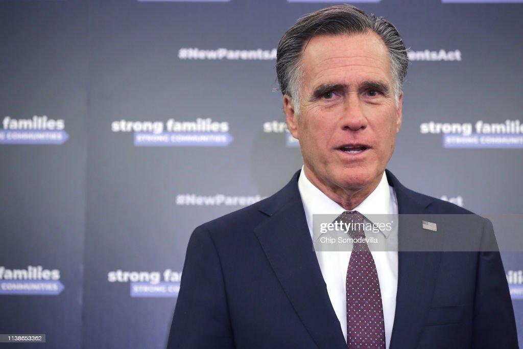 Senators Marco Rubio And Mitt Romney Unveil Paid Family Leave Legislation : News Photo