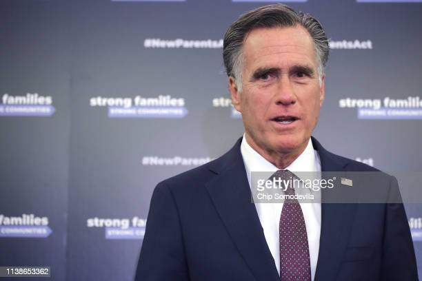 S Sen Mitt Romney joins fellow Republicans from the House and Senate to introduce paid family leave legislation during a news conference in the...
