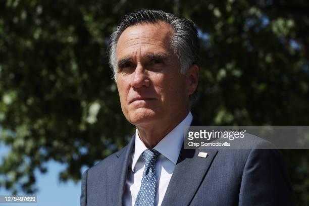 Sen. Mitt Romney leaves a meeting of GOP senators at the National Republican Senatorial Committee offices September 22, 2020 in Washington, DC....