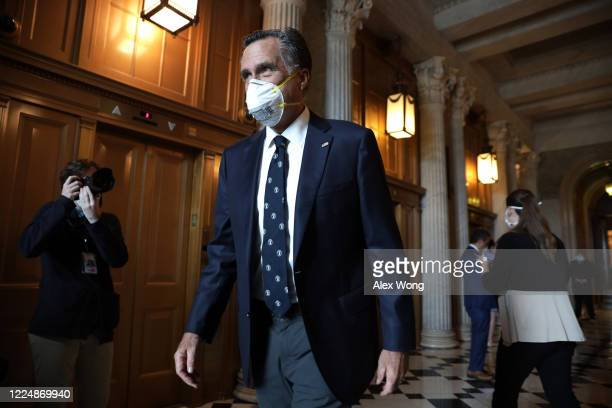 Sen. Mitt Romney leaves after a vote at the U.S. Capitol May 14, 2020 in Washington, DC. The Senate is scheduled to vote on passage of H.R.6172, the...