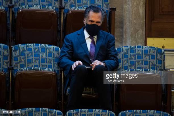 Sen. Mitt Romney, R-Utah, attends the joint session of Congress to certify the Electoral College votes of 2020 presidential election in the House...