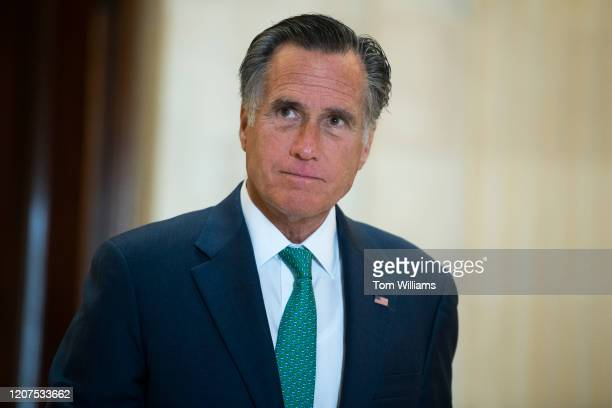Sen. Mitt Romney, R-Utah, leaves the Senate Republican Policy luncheon in Russell Building on Tuesday, March 17, 2020. Treasury Secretary Steven...