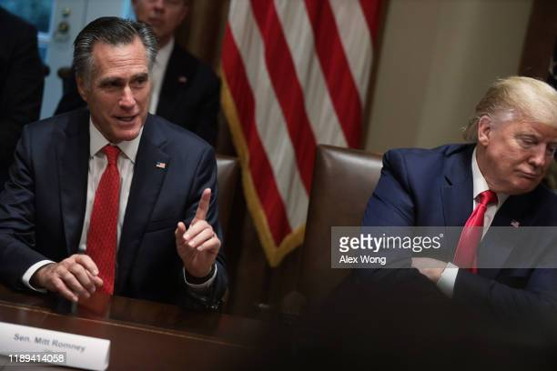 Sen. Mitt Romney speaks as President Donald Trump listens during a listening session on youth vaping of electronic cigarette on November 22, 2019 in...