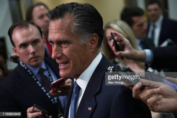 S Sen Mitt Romney speaks to members of the media after a closed briefing for Senate members May 21 2019 on Capitol Hill in Washington DC Secretary of...