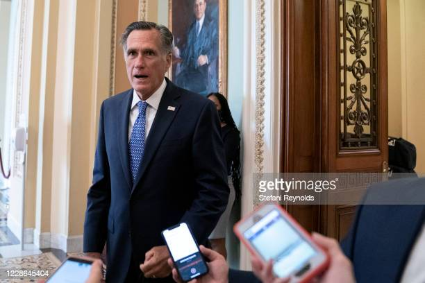 Sen. Mitt Romney speaks to reporters at the U.S. Capitol on September 21, 2020 in Washington, DC. Senate Majority Leader Mitch McConnell is planning...