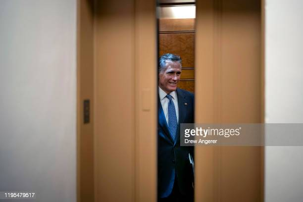 Sen. Mitt Romney takes an elevator before the impeachment trial of President Donald Trump resumes at the U.S. Capitol on January 23, 2020 in...